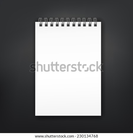 blank note book isolated on black background - stock vector