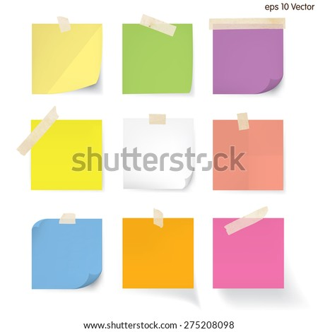 blank note paper set - stock vector