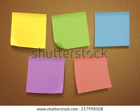 blank note paper set on brown background - stock vector