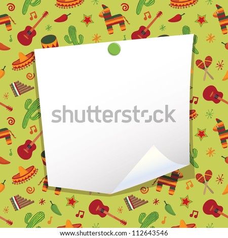 blank note paper with mexican party background