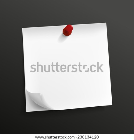 blank note paper with pin isolated on black background - stock vector
