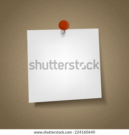 blank note paper with pin isolated on corkboard - stock vector