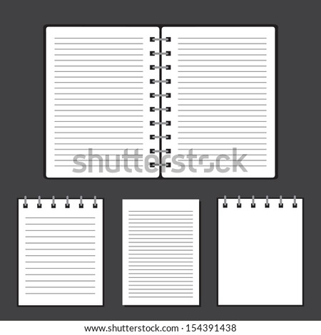 blank notebook on gray background - stock vector