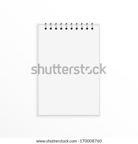 Blank notebook with blank place for text and notes. isolated on white.  - stock vector