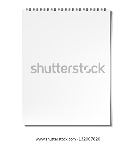 Blank Notebook With Gradient Mesh, Isolated On White Background, Vector Illustration - stock vector