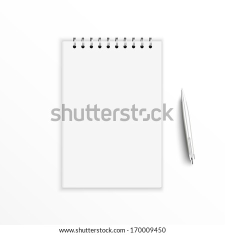 Blank notebook with pen. isolated on white.  - stock vector