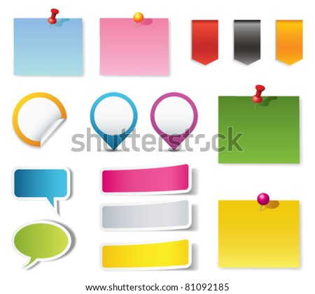 Blank notepad and other supplies - stock vector
