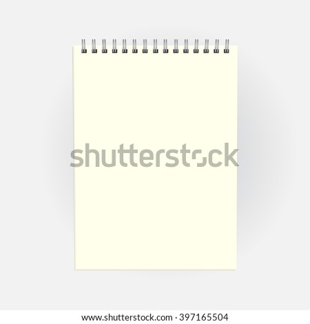 Blank notepad. Business or education concept, mock up. Vector, EPS10