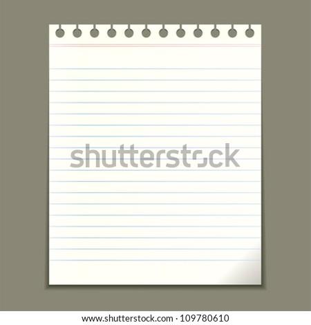 Blank notepad sheet, vector illustration - stock vector