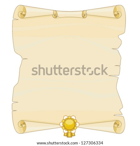 Blank old parchment with golden decoration
