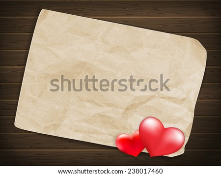 Blank old piece of paper and vintage handmade valentines day toy heart over wooden background. EPS 10 vector file included - stock vector