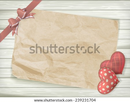 Blank old piece of paper and vintage handmaded valentines day toy heart over wooden background. EPS 10 vector file included - stock vector