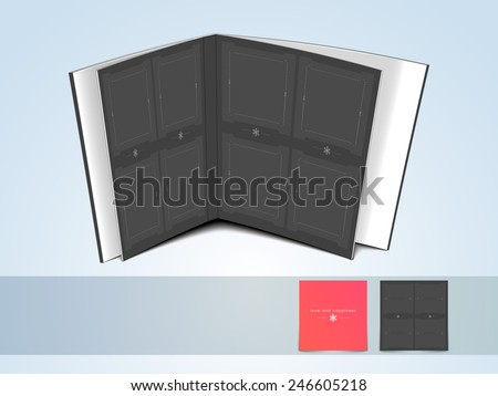 Blank open album on shiny light sky blue background. - stock vector