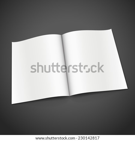 blank open book isolated over black background