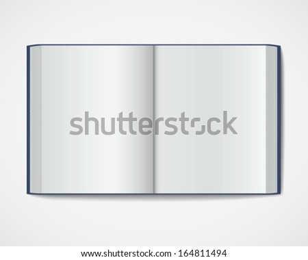 Blank open book. Magazine hardcover