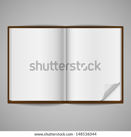 Blank Open Book with Corner Fold - Blank book, open to show blank pages, isolated on a gray background.  One page has a folded corner.  EPS10 file with transparency.