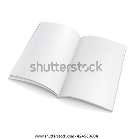 Blank Open Magazine, Book, Booklet, Brochure, Cover. Illustration Isolated On White Background. Mock Up Template Ready For Your Design. Vector EPS10