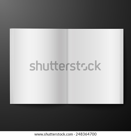blank open magazine isolated over black background, excellent vector illustration, EPS 10 - stock vector