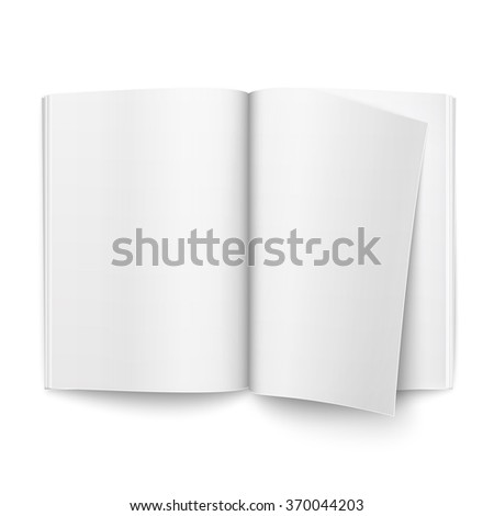 Blank open magazine template on white background with one page turning over. Ready for your design. Vector illustration.