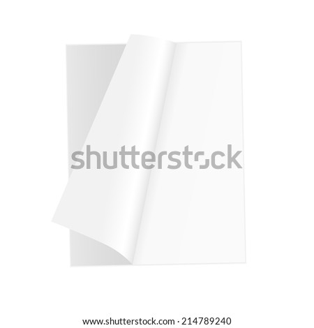Blank open magazine template on white background with soft shadows. Vector illustration. EPS10. - stock vector
