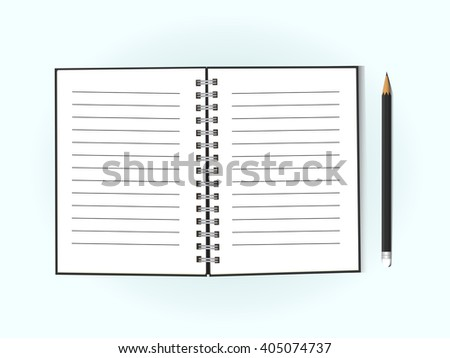 Blank open notebook with pencil, business or education concept, mockup. Vector, EPS10
