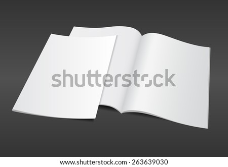 Blank opened A4 magazine mockup template with blank cover on dark background. Realistic editable vector EPS10 illustration for your design. - stock vector