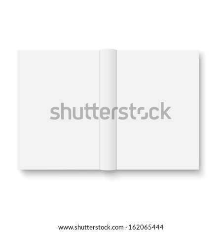 Blank opened book cover template on white background with soft shadows. Vector illustration.