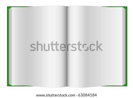 Blank opened book with green hard cover isolated on white. - stock vector