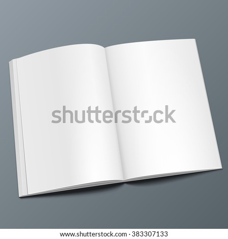 Blank Opened Magazine, Book, Booklet, Brochure. Illustration Isolated On Gray Background. Mock Up Template Ready For Your Design. Vector EPS10