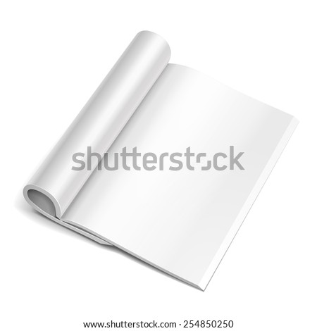 Blank Opened Magazine, Book, Booklet, Brochure. Illustration Isolated On White Background. Mock Up Template Ready For Your Design. Vector EPS10 - stock vector