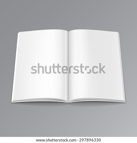 Blank Opened Magazine, Book, Booklet, Brochure. Illustration Mock Up Template Ready For Your Design. Vector EPS10