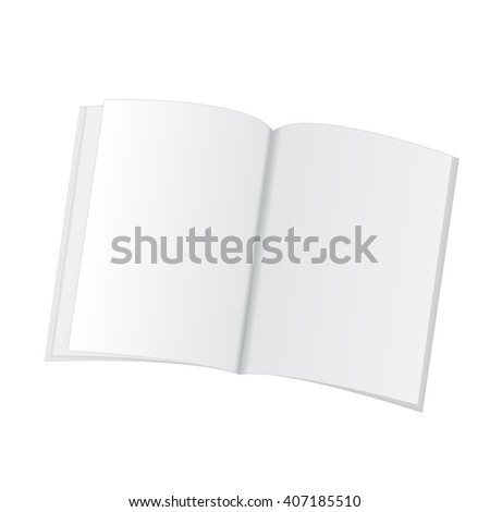 Blank Opened Magazine, Book, Booklet, Brochure on White Background. For Your Design. Vector