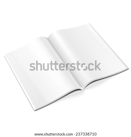 Blank Opened Magazine, Book, Booklet, Brochure. On White Background Isolated. Mock Up Template Ready For Your Design. Product Packing Vector EPS10 - stock vector