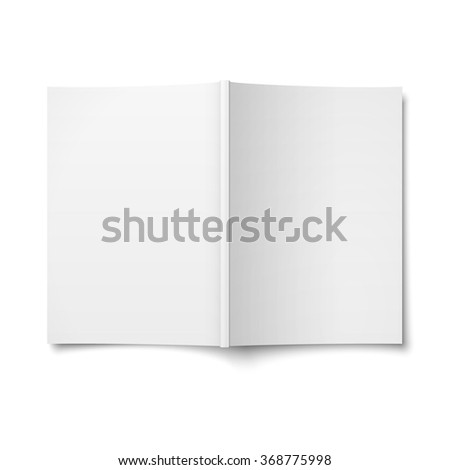 Blank opened magazine cover template on white background. Vector illustration.