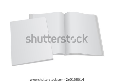 Blank opened magazine mockup template with blank cover. Realistic editable vector EPS10 illustration for your design.