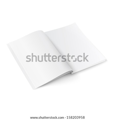 Blank opened magazine template on white background with soft shadows. Ready for your design. Vector illustration. EPS10. - stock vector