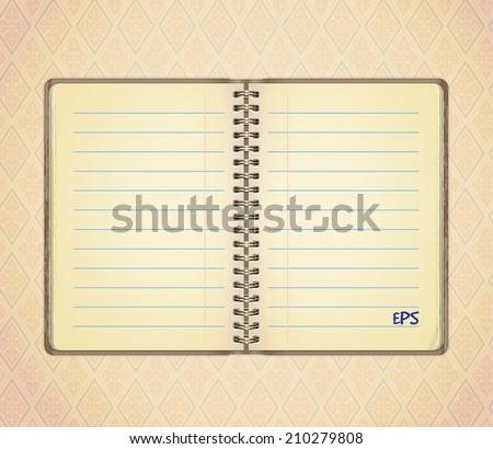 Blank opened notebook  - stock vector