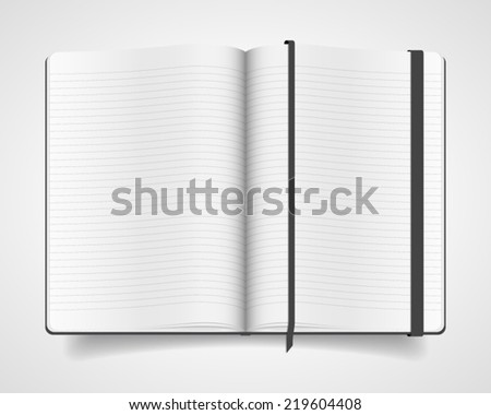 Blank opened notebook with black cover and bookmark isolated on white background. Realistic vector illustration. - stock vector