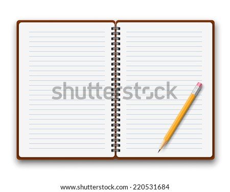 Blank opened spiral copybook template. Vector illustration. - stock vector