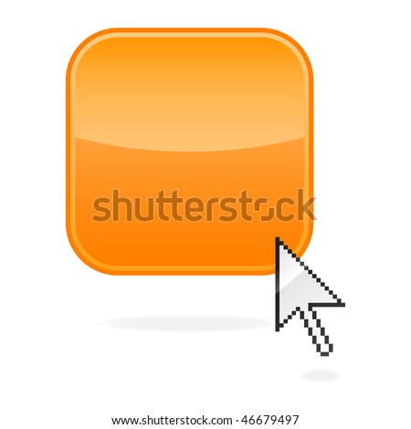 Blank orange glossy button with shadow and cursor on white background - stock vector