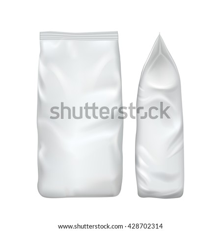 Blank packaging isolated on white background. Foil food snack bag for coffee, chips. Package template. Realistic 3d mockup. Plastic pack template. Ready for design. Vector illustration. - stock vector