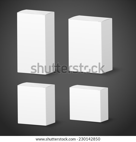 blank packing box set on black background - stock vector