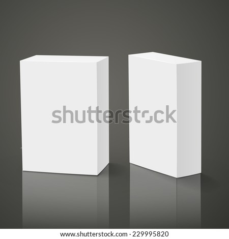 blank packing boxes isolated over black background - stock vector