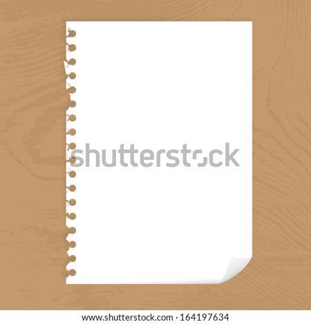 Blank page of paper with bended corner on a wooden desktop, vector illustration
