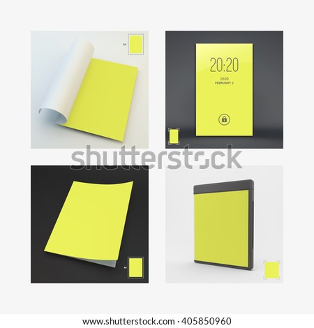 Blank Page Template for Design Layout. Modern Lock Screen for Mobile Apps. CD Disc Case. A4 Business Blank. 3d Vector Illustration.