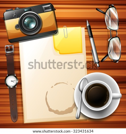 Blank paper and hot coffee illustration