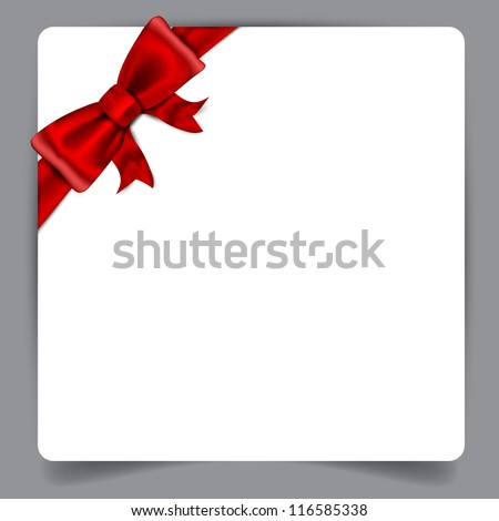 Blank paper background with red bow. Vector eps10. - stock vector
