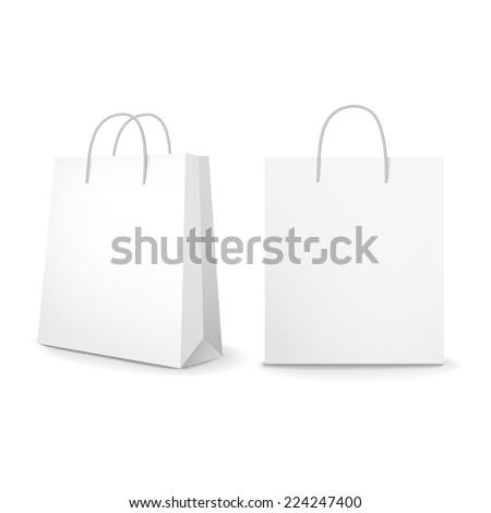 blank paper bags set isolated on white background - stock vector