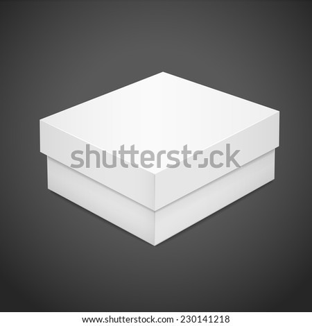 blank paper box isolated on black background - stock vector
