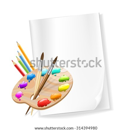 blank paper, color pencils, palette, brushes. vector - stock vector